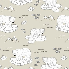 Little polar bears and snow mountains and glaciers winter ocean design soft ginger beige