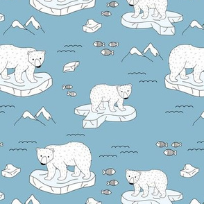 Little polar bears and snow mountains and glaciers winter ocean design cool blue