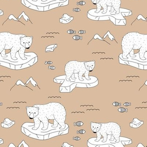 Little polar bears and snow mountains and glaciers winter ocean design cinnamon brown beige