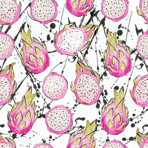 Watercolor dragonfruit with black splashes