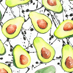 watercolor avocados with black splashes