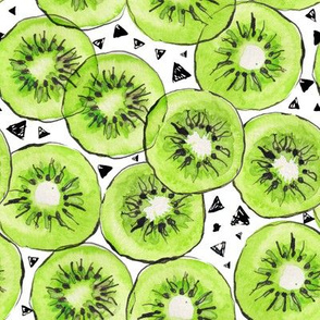 Watercolor kiwi fruit with black triangles