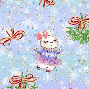 Adorable cute bunny, bunny girl, kids pattern, christmas, winter pattern, kids, winter, funny bunny, cute animal, christmas mistletoe, girly, glitter, cheerful