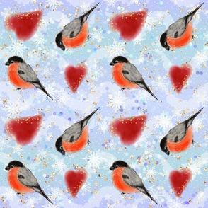 bullfinches birds, red birds, woodland pattern, Birds and hearts. glitter background, bright pattern, christmas decor, glitter pattern, bullfinches, winter pattern, winter birds, christmas pattern, heart pattern, kids pattern