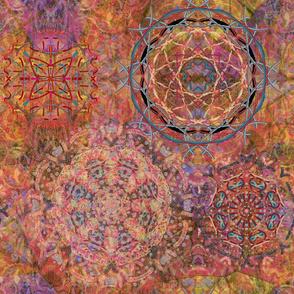 large dreamcatcher mandala ORANGE CORAL autumn summer  PSMGE
