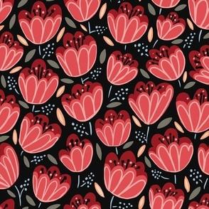 Red Midnight Tulips