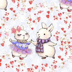 Bunny love. dancing, love, cute rabbits, children, kids pattern, rabbits, dancing couple, love pattern, funny, white bunny, hearts, winter pattern, cute bunny