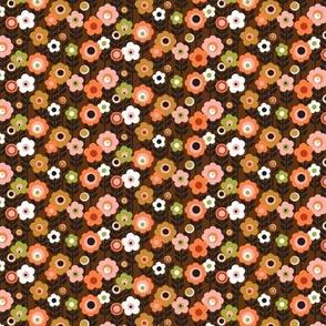 Marguerite* (Mini Harvest) || vintage sheet mod 70s 60s flower floral leaves stem garden spring summer fall autumn mustard gold orange avocado doll clothes