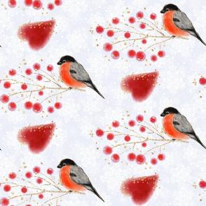bullfinches bird pattern, woodland pattern, christmas pattern, red berries, glitter background, red birds, bright pattern, winter pattern, winter birds, bullfinches, birds, white snow, winter nature, Bullfinch heart
