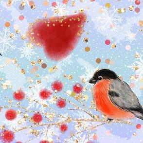 winter pattern, woodland pattern, bullfinches, winter birds, glitter pattern, winter Rowan, christmas berries, red birds, bright pattern, red berries, bullfinches birds, christmas pattern, bird pattern, red blue christmas