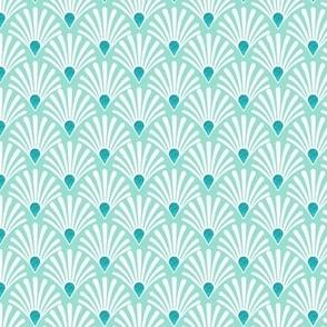 Seashell mint, art deco seashell  mint peacock