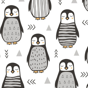 Penguins Black&White  with Sweater Geometric and Triangles  in Grey Large Jumbo Scale 8 inch