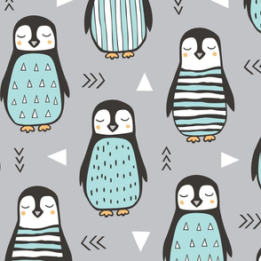 Penguins with Sweater Geometric  and Triangles Grey Large Scale Jumbo 8 inch