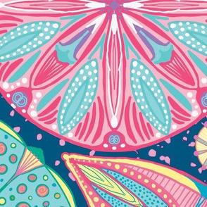 Microscopic Diatoms, multi colored, Huge