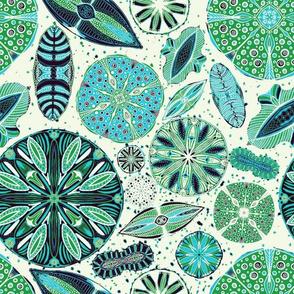 Microscopic Diatoms, blue green, 12 inch