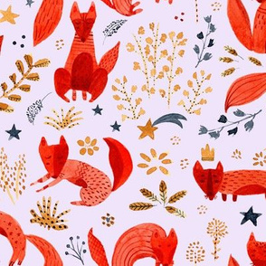 Little whimsical foxes pink background