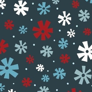 Retro Snowflakes Dark