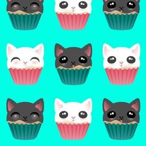 Kitty Cupcakes White & Black on Teal
