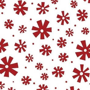 Retro Snowflakes Red
