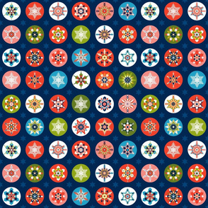 Christmas Snowflakes Navy Red
