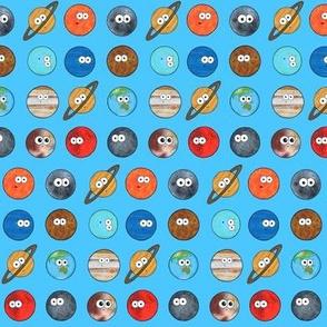 Cute Planet Polka Dot - On Blue