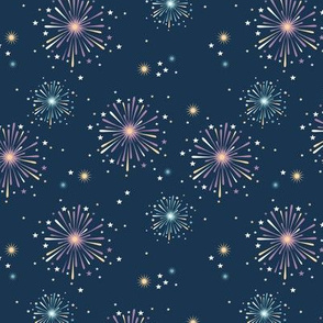 Happy new year celebration fireworks and stars party night navy blue pink
