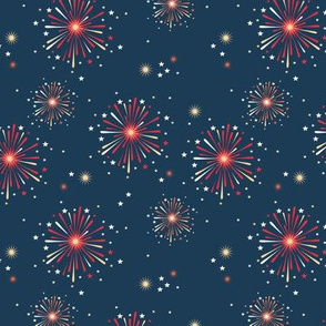 Happy new year celebration fireworks and stars party night red orange fire navy blue