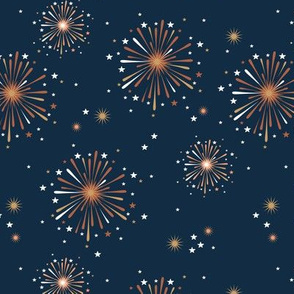 Happy new year celebration fireworks and stars party night navy blue burnt orange