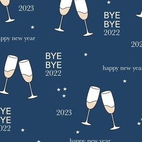 Have a drink - Happy new year celebration champagne bubbles toast navy blue night stars typography
