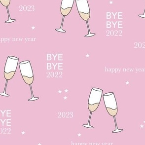 Have a drink - Happy new year celebration champagne bubbles toast soft pink girls night stars typography