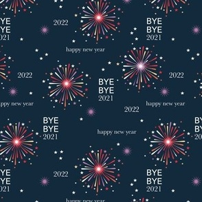 Happy new year 2021 fireworks - exit 2020 typography abstract minimalist text design navy blue red orange red