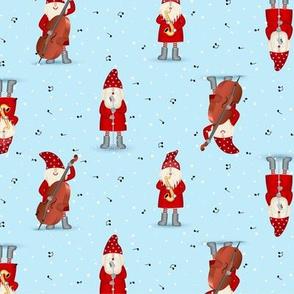 Cute gnomes Santa Claus musicians Christmas jazz band