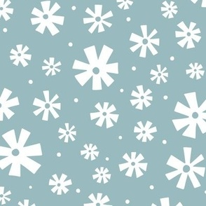Retro Snowflakes Blue and White