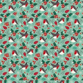 Christmas birds in snow mint (mini)