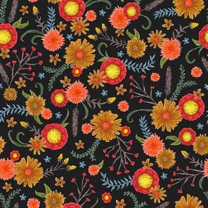 bright blooms on black