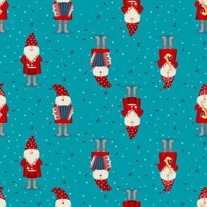 Cute gnomes Santa Claus musicians Christmas pattern