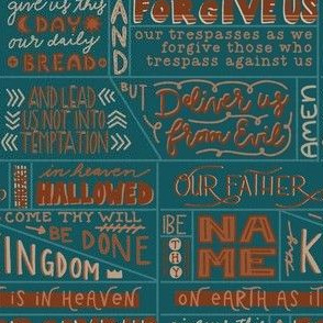 Our Father Prayer on Deep Teal