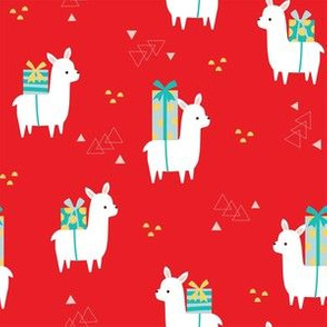 Christmas Llamas red large