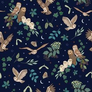 Owls Pattern midnight