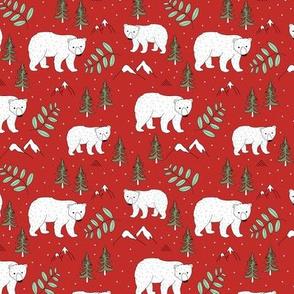 Seasonal Polar bear mommy and baby cub Scandinavian winter wonderland forest christmas kids design red green mint SMALL