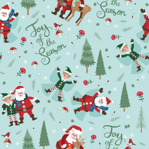 Jolly Santa and Joyful Elf