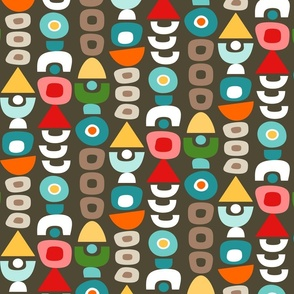 Rainbow Mid Century Modern Retro Shapes // Dark Brown, Khaki Tan, Green, Turquoise, Caribbean Blue, Green, Yellow, Red, Coral Pink, Orange, White