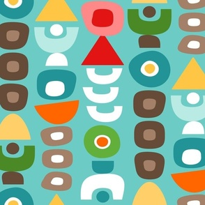 Mid Century Modern Retro Shapes // Pink Coral, Red, Yellow, Orange, Brown, Green, Turquoise, Caribbean Blue
