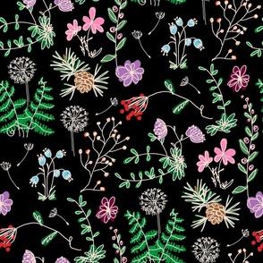 flower pattern, black background, flower mash, flowers, spring pattern, summer pattern, blooming meadow, floral pattern, plants, bright flowers, magic flowers, summer flowers, blooming flowers.