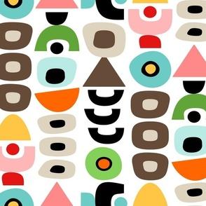 Mid Century Modern Retro Shapes // Orange, Coral, Pink, Khaki Tan, Dark Brown, Yellow, Orange, Red, Green, Turquoise Blue