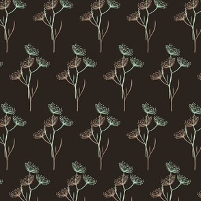 Nature, eco pattern, floral pattern, dark background, exquisite, twigs, refined, woodland, grass, rustic pattern, vintage plants, herb, herbarium, dill