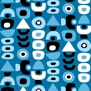 Mid Century Modern Retro Shapes // Denim Blue, Black, White