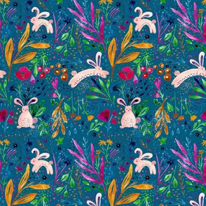 Whimsical rabbits in a Spring blue garden