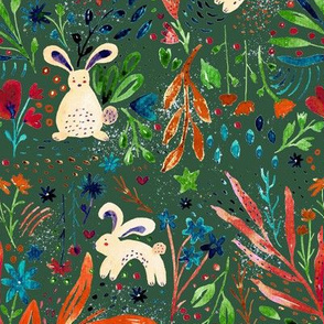 Whimsical rabbits in a Spring garden