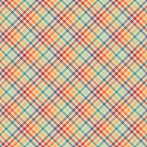 Light Diagonal Retro Rainbow Plaid - small
